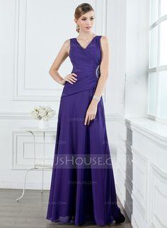 Bridesmaid Dresses - $122.99 - A-Line/Princess V-neck Floor-Length Chiffon Bridesmaid Dress With Ruffle Beading (007001053) http://jjshouse.com/A-Line-Princess-V-Neck-Floor-Length-Chiffon-Bridesmaid-Dress-With-Ruffle-Beading-007001053-g1053