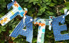 Boys Airplane Fabric Name Banner 6 Letters. $30.00, via Etsy.