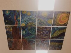 Made by my middle school art club! A collaborative Starry Night project to brighten up those boring white ceiling tiles.