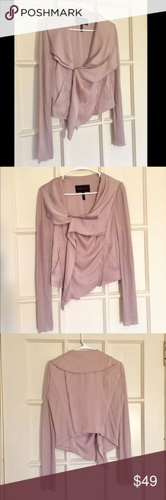 BCBGMaxAzria silk drape front zipper jacket Gorgeous silk details, high-low cut. Used- in excellent condition! No stains, rips or pilling ! fitted jacket top with silk drape and zipper details. Size M. BCBGMaxAzria Jackets & Coats