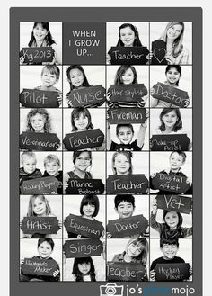 Kindergarten class photo collage of their potential professions. Really cute idea for kindergarten teacher! End Of School Year, Beginning Of School, School Days, Back To School, High School, Middle School, End Of The Year Class Party Ideas, First Day At School, School Songs