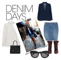 """Denim Skirt, smart shirt"" by shistyle ❤ liked on Polyvore featuring JunaRose, Open End, Aquazzura, MICHAEL Michael Kors, Ganni and denimskirts"