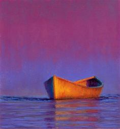 """Daily Paintworks - """"Empty Boat 1/2018 Poucher Pastel Painting"""" - Original Fine Art for Sale - © Nancy Poucher"""