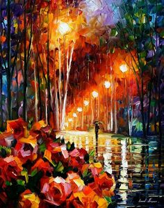 """Alley Of Roses 2"" by Leonid Afremov ___________________________ Click on the image to buy this painting ___________________________ #art #painting #afremov #wallart #walldecor #fineart #beautiful #homedecor #design #qwdfcvbf5667456534sewr"