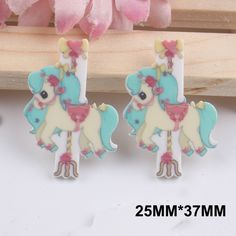 50pcs 25*37MM Amusement Park Carousel Resin Flatback Horse Planar Resin DIY Craft For Home Decoration Accessories FR124