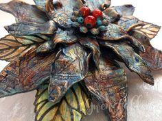 Stenciled Clay Flower by Gwen Lafleur