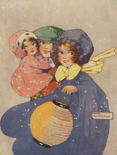 Illustration of young family with lantern - by Agnes Richardson