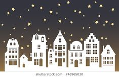 Find Laser Cutting Amsterdam Style Houses Silhouette stock images in HD and millions of other royalty-free stock photos, illustrations and vectors in the Shutterstock collection. Little Christmas, Christmas Art, Christmas Holidays, Christmas Ornaments, Christmas Window Decorations, New Years Decorations, House Silhouette, Christmas Origami, Theme Noel