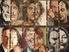 Emoties Bewust half geschilderde portretten ,niet belangrijk wie ze zijn maar wel de menselijke emotie die ze uitdrukken geconfronteerd naast elkaar. Paul De Hooghe