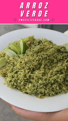 Arroz verde is a wonderful side dish, especially when served with enchiladas or a steamy bowl of caldo. Made with poblanos, cilantro and a squeeze of fresh lime juice, arroz verde takes on a beautiful green hue that gives your plate a festive touch!