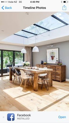 Love a skylight over the dining table