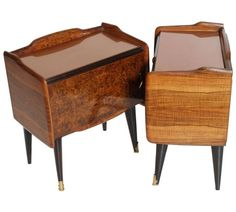 Paolo Buffa Manner Italian Mid-Century Modern Bedside Tables Burl Walnut, 1940s 2