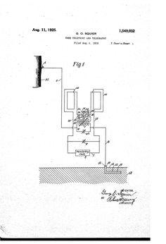 Patent US1549032 - Squier's Tree Telephony - Aug 11, 1925
