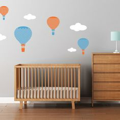 Baby nursery hot air balloons decals
