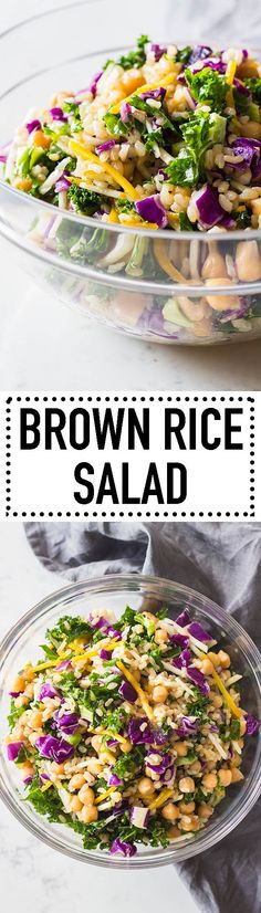 A brown rice salad with delicious chickpeas, a blend of kale and beets and a zingy orange ginger dressing! Eat it cold or warm, either way it's extremely delicious! #brownrice #salad #veggieslaw #ad via @greenhealthycoo