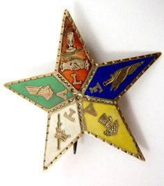 Antique 10k Gold Enameled Order of The Eastern Star Pin OES - Estate Jewelry