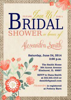 Vintage Navy Loves Coral, Bridal Shower Invitation, Coral, Navy Blue, Burlap, Flowers