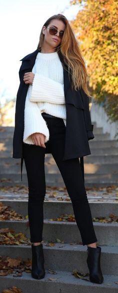 #winter #fashion / oversized white knit + black coat