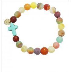 Handmade Semi Precious Stone with Cross Stretch Bracelet