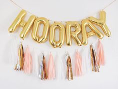 HOORAY gold letter balloon banner SETS Lightweight and can be easily displayed on walls, tables, and outdoors. ** balloons are re-inflatable
