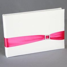 Glamour Wedding Guest Book - Satin guest book available in white or ivory, decorated with a satin band in your choice of color with a rhinestone buckle.