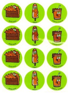 Chocolate CTP glossy scratch and sniff stickers - 1981 (white streak is reflection from plastic cover)