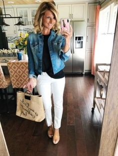 to Style White Pants // Non Sheer White Pants Perfect for Work or Casual Outfits // Easy Spring Outfit for Date Night or Running Errands // Black Top with White Pants and Wedge Sandals // Denim Jacket // What to Wear with a Denim Jacket// Summer Fashion Jean Jacket Outfits, Outfit Jeans, White Jeans Outfit Summer, Outfit With White Pants, Jacket Style, White Capri Outfits, Denim Jacket Outfit Summer, How To Wear Denim Jacket, How To Wear White Jeans