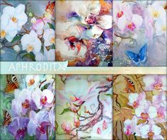 Orchids Watercolor Download  Floral Digital Paper  Floral Watercolor Scrapbook Image  Watercolor Butterflies DigitaI Orchids Download  A-12