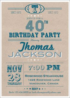 Printable 40th birthday invitation man or by ThePaperWingCreation