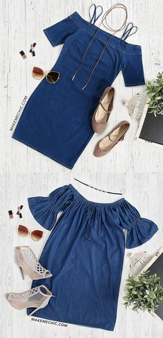 """Be the girl next door in this cute piece. An open shoulder half sleeved dress with a flowy cut and a front bow tie to compliment your bubbliness. Dress measures 28.5"""" in. from top to bottom hem. Pair with brown heeled sandals and a necklace."""