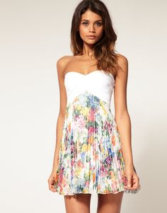 ASOS Floral Pleated Bandeau Dress | Shop-Xpress.ro