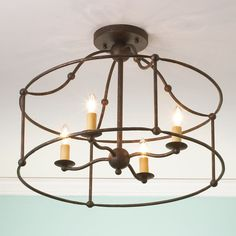Wrought Iron Frame Ceiling Lantern Ceiling Light bronze