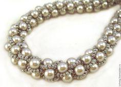 Купить Жемчужно-серое колье - серебряный, серый, турецкий жгут, изысканное украшение, бисер чешский