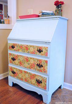 Decoupage vintage desk makeover.