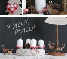 When Christmas is getting closer and everyone is looking for fresh decorating ideas. We have collected some inspiring DIY Advent wreath ideas which will Advent Wreath Candles, Christmas Advent Wreath, Nordic Christmas, Christmas Candles, Modern Christmas, All Things Christmas, Christmas Holidays, Christmas Crafts, Advent Wreaths