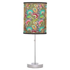 """Title : 30, Suzani, Floral on Leopard Fabric Print Desk Lamp  Description : Suzani, Ikat, Kilim, Decorative Trends, with various Backgrounds, such as damask, paisley, floral, """"leather-look"""", """"Animal-Skin-Prints for that Elegant, Exotic Cultural Style of Todays Trendy Home Décor and Accessories Fashions. Great Gift ideas for BoHo, Chick, Bohemian Themes as well.  Product Description : <div>  Trim Color: Black Trim    <div></div>  </div>"""
