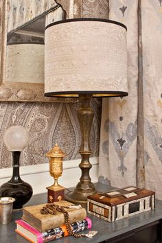 Wall Upholstery: Pasha Paisley in Stone, 174803. http://www.fschumacher.com/search/ProductDetail.aspx?sku=174803 Drapery: Raja Embroidery in Stone, 65813. http://www.fschumacher.com/search/ProductDetail.aspx?sku=65813 Lamp Shade Fabric: Jaipur Linen Embroidery in Flax, 65800. http://www.fschumacher.com/search/ProductDetail.aspx?sku=65800 #Schumacher