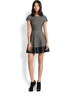 Parker - Nolan Leather-Trim Dress - Saks.com