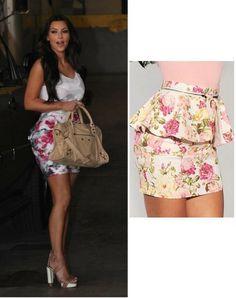 Kim Kardashian Floral Peplum Mini Skirt