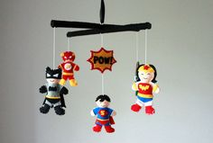 Super Hero Baby Mobile  Superhero  Baby by SweetDreamsBabyShop, $81.00