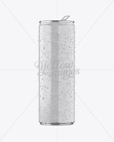 250ml Aluminium Can W/ Condensation & Glossy Finish Mockup