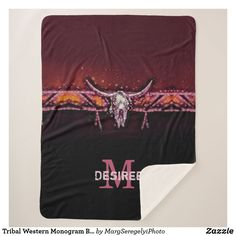 Tribal Western Monogram Boho Chic Cow Skull Pink Sherpa Blanket Hippie Lifestyle, Cow Skull, Edge Stitch, Keep It Cleaner, Hand Sewing, Westerns, Boho Fashion, Boho Chic, Shop Now