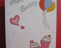 Happy birthday Card with Cupcakes and Balloons
