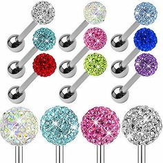 14G Surgical Steel Czech Crystal Ball Tongue Ring $0.99