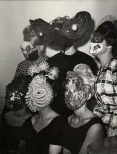 Denise Bellon - Gathering of Surrealists group with mask wearing guests (France ca.1950s-1960s)