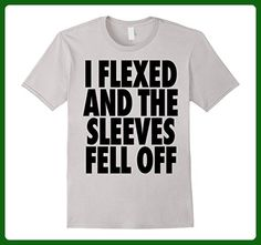 Mens I Flexed And Then The Sleeves Fell Out Off Tshirt Gym Tshirt Medium Silver - Workout shirts (*Amazon Partner-Link)