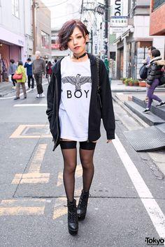 Harajuku Girl in Boy London, Garter Stockings & Platform Booties