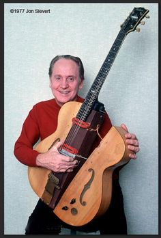 Les Paul with The Log, photo by Jon Sievert. → Lester William Polsfuss, known as Les Paul, was an American jazz, country and blues guitarist, songwriter, luthier and inventor. He was one of the pioneers of the solid-body electric guitar, which made the sound of rock and roll possible. Wikipedia Born: June 9, 1915, Waukesha, Wisconsin, United States Died: August 12, 2009, White Plains, New York, United States