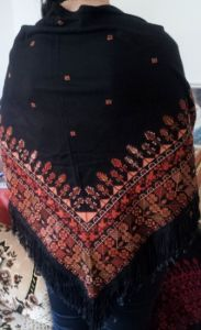 Palestinian embroidery tatreez shawel brown color ,triangle shape.Size 90*90*200 cm. Price $135