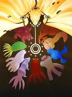 #Naruto in his Sage Mode surrounded by all nine #Bijuu. Very #colorful artwork. #anime  www.animatedcartoons.co